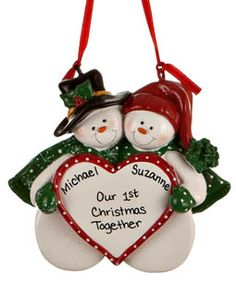 Snowman Couple with Heart. Don't know what to buy your spouse? Personalize a special message that both of you will cherish year after year on the tree.. Price: $13.50