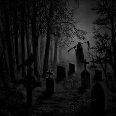 Graveyard by CuteReaper © (Please leave credit … Ƹ̴Ӂ̴Ʒ) Grim Reaper Art, Don't Fear The Reaper, Graveyard Tattoo, Old Cemeteries, Graveyards, Creepy Drawings, Gothic Fantasy Art, Satanic Art, Dark Images