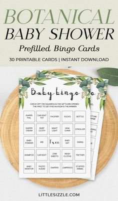 Botanical Baby Shower Baby Bingo Cards Prefilled for Large Groups by LittleSizzle. Printable baby bingo game for neutral baby shower by LittleSizzle. Play Baby Bingo with these green baby shower bingo cards with eucalyptus leaves. Perfect for your neutral or botanical theme baby shower. The set includes 30 different prefilled cards, a blank baby bingo card and an editable PDF template if you have more than 30 guests. #babybingo #printable #babyshowergames #greenery #genderneutral #littlesizzle Bridal Shower Bingo, Bridal Bingo, Printable Bridal Shower Games, Unique Bridal Shower, Baby Shower Printables, Baby Shower Invitations, Baby Games, Baby Shower Games, Shower Baby
