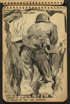 """Victor Alfred Lundy (1923-) - """"Pat"""" (T/Sgt. Patenaude) Zeroing in with the 60 MM Mortars in Front of the 3rd Platoon, 1944 (WW II Sketchbook)"""