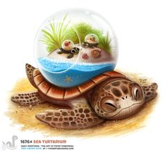 Daily Painting Sea Turtarium by Cryptid-Creations on DeviantArt Cute Fantasy Creatures, Mythical Creatures Art, Cute Creatures, Cute Food Drawings, Cute Animal Drawings Kawaii, Cool Drawings, Animal Puns, Animal Food, Creature Drawings
