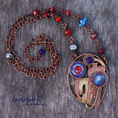 "Author jewelry (necklace, pendant) ""Summer rain"": copper, brass, hot enamel, lamp work beads. All handmade."