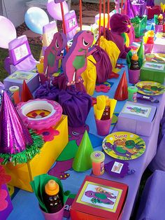 Barney Party table Barney Birthday Party, Barney Party, 3rd Birthday Parties, 2nd Birthday, Barney & Friends, Second Birthday Ideas, Dinosaur Party, Party Themes, Party Ideas