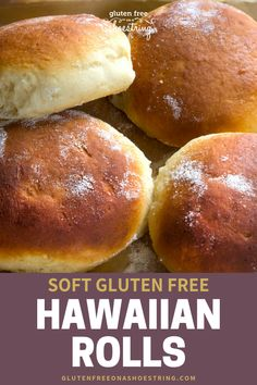 It may be a stretch to call these Gluten Free Hawaiian Rolls life-changing, but they just might be! They are so very delicious and so soft too! Use them as dinner rolls, hamburger buns, appetizer sandwiches or a side item for any meal. Get my tips fo Bread Maker Recipes, Gf Recipes, Gluten Free Recipes, Gluten Free Lunch Ideas, Gluten Free Appetizers, Czech Recipes, Sandwich Recipes, Hawaiian Bread Rolls, Patisserie Sans Gluten