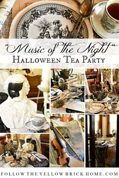 "Don't miss this fun and interactive ""Music Of The Night"" themed Halloween Tea Party post featuring elegant black and white accents and vintage decor! Halloween Masquerade, Masquerade Party, Scary Halloween, Vintage Halloween, Fall Halloween, Halloween Music, Witch Party, Halloween Party Decor, Halloween Themes"