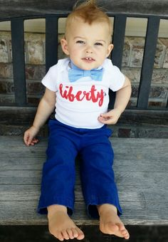 Liberty 4th of July baby boy or girl one piece outfit and kids shirt is just the patriotic tee shirt your little dude or diva needs to celebrate Memorial Day, July Fourth, & Labor Day festivities. Of course, it doesn't need to be a holiday to wear your patriotism. This gender neutral baby outfit and kids shirt is great for any time of year! #LivAndCo