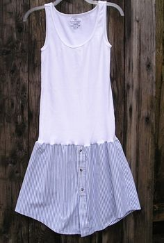 White and Blue Boyfriend Dress Casual by VintageDesignByVines, $28.00  upcycled mens shirt - hmmmm