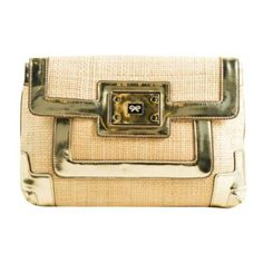 Pre-Owned Anya Hindmarch Tan Metallic Gold Woven Raffia Patent Leather... ($235) ❤ liked on Polyvore featuring bags, handbags, clutches, multi, tan purse, tan clutches, raffia clutches, patent leather handbags and gold metallic handbags