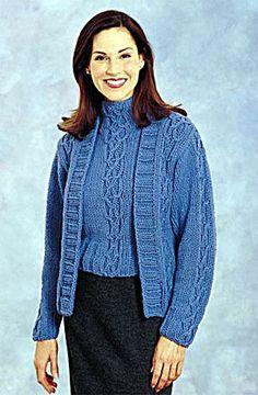 Ravelry: Cabled Twin Set: Cardigan pattern by Lion Brand Yarn Knitting Patterns Free, Knit Patterns, Free Knitting, Free Pattern, Lion Brand Yarn, Work Wear, Twins, Sweaters For Women, Womens Fashion