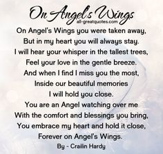 Remembrance Poems: On Angel Wings Poem Remembrance Poems, Memorial Poems, Funeral Memorial, Grief Poems, Mom Poems, Funeral Poems For Mom, Funeral Quotes, Grieving Quotes, Heaven Quotes