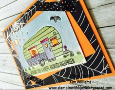 Stampin' Up Glamper Greetings stamp set. Kim Williams, stampinwithkjoyink.typepad.com. Pink Pineapple Paper Crafts. Watercoloring with aqua painters. Halloween Nights designer paper and washi tape. Fall card ideas. Card ideas for halloween.