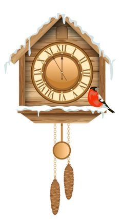 Christmas Cuckoo Clock with Snow PNG Clipart