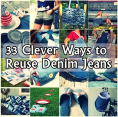 phoenix treasures - 33 Clever Ways to Reuse Denim Jeans Jean Crafts, Denim Crafts, Upcycled Crafts, Crafts To Do, Repurposed Items, Repurposed Furniture, Fabric Crafts, Sewing Crafts, Sewing Projects