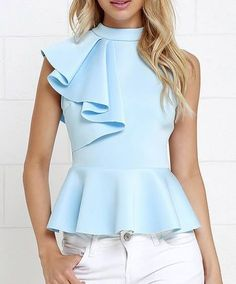 It's incredible how unforgettable you will be in the Forever More Light Blue Peplum Top! Poly-spandex, medium-weight knit hugs your silhouette from a mock neck, through a sleeveless bodice decorated with a cascading side ruffle. A peplum tier flares from Trendy Tops, Casual Tops, Mode Top, Elegantes Outfit, Mode Style, Look Fashion, Dress Patterns, Blouse Designs, Fashion Dresses