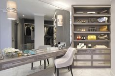 Contemporary dressing room with grey floating vanity and built-in dresser with hammered metal drawer fronts. Dressing Room Closet, Dressing Room Design, Wardrobe Closet, Closet Space, Dressing Rooms, Dressing Area, Dressing Tables, Room Interior Design, Best Interior