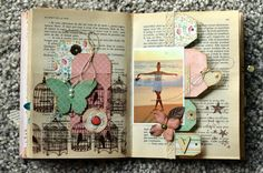 So I cant read this but it looks like a scrapbook made out of an old novel? SUPER CUTE idea!!