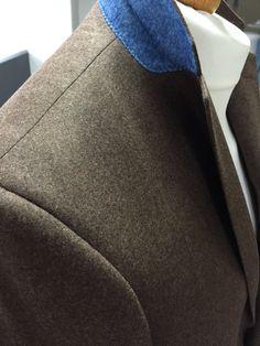 Shoulder detail with blue under collar Melton www.alexandrawoodbespoke.co.uk Bespoke blazer, Savile row