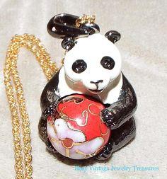 Estate Joan Rivers Panda Cloisonne Pendant Necklace Only 1 on Ebay Rare #joanrivers #Pendant Big Panda, Joan Rivers, Vintage Jewelry, Pendant Necklace, Christmas Ornaments, Holiday Decor, Ebay, Christmas Jewelry, Vintage Jewellery