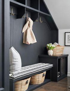 Black Bench, Bench With Storage, Basket Storage, Beadboard Backsplash, 257, Black Cabinets, Ship Lap Walls, Black Walls, Cheap Home Decor