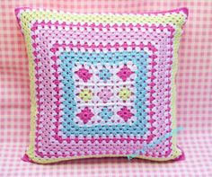 CROCHETED CUSHION, granny squares PILLOW, colourful pastels, By KerryJayneDesigns