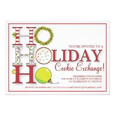 HO HO HO Holiday Cookie Exchange Party Announcement