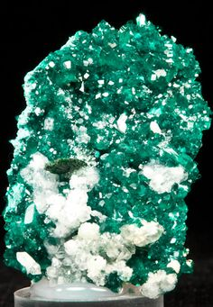 Dioptase with Malachite and Calcite