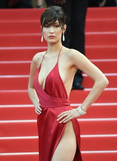 Bella Hadid wore a barely-there dress at Cannes.