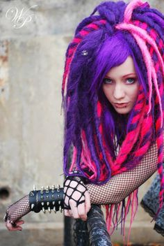 Cyber goth Cheshire colored dreadfalls