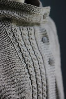 Clouds in my Coffee is a completely seamless, asymmetrical cardigan knit all in one piece from the top-down. The neck and button bands are worked as you knit the piece so there is no picking up of stitches at the end!
