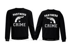 Couple Sweatshirt - Partners in Crime - 2 Couple Matching Love Crewneck Sweatshirts Sweatshirt Outfit, Sweatshirt Refashion, Crew Neck Sweatshirt, Matching Couple Outfits, Matching Shirts, Hoodie Sweatshirts, Best Friend Outfits, Bff, Dresses With Leggings