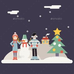 Winter Geek Happy Family Characters making Snowman New Year Landscape Christmas Icon Greeting Card Flat Design Vector Illustration