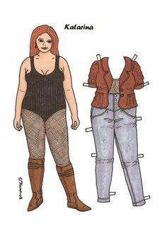Mariella and Katarina - chubby / heavy / overweight / plus-sized female paper dolls copyright Karen 08