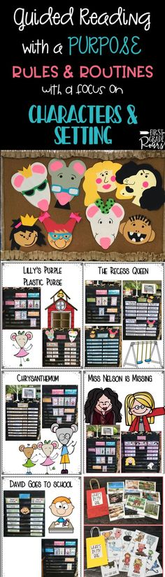 This unit was created for one week of whole group guided reading and writing. The theme for the week is RULES and ROUTINES. The focus reading strategies are CHARACTERS and SETTINGS. Each day a different story will focus on character and setting activities. There are daily lesson plans, anchor charts, literacy connections, sorting activities, vocabulary activities, crafts and ideas for project based learning. It is all you will need and more to introduce, cover, and teach this concept. The…