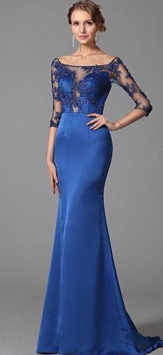 9d95de69be Elegant Blue Off Shoulder Half Sleeves Prom Dress Evening Gown (02152805). Vestidos  Corte SirenaVestidos ...