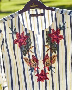 fed80a10c96 Brooks Brothers Floral-Embroidered Striped Linen Tunic Brooks Brothers  Women