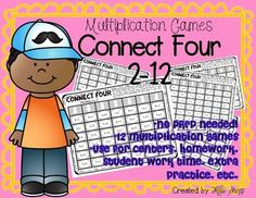 Multiplication Games: Connect Four 2-12  Help keep your math workshop FUN  while playing these Connect Four games! Each page focuses on a specific factor. With this download, you will receive 12 NO PREP games.