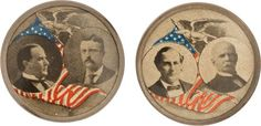 A matched pair of jugate buttons for McKinley and Roosevelt and Bryant and Stevenson.