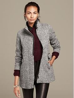 00P I realllly love this jacket in black, but not avail online. It's avail in stores tho.   Mixed-Media Coat | Banana Republic