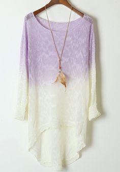 Light Purple Gradient Batwing Long Sleeve Wool Sweater