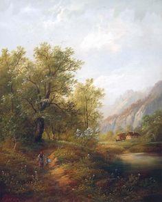 Eduard Boehm - Alpine Landscape, oil on canvas, 53 x 42 cm