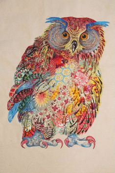 ♒ Enchanting Embroidery ♒ Embroidered bird | My Owl Barn: Sophie Standing: Textile Embroidery Art