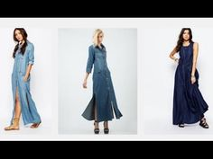 Vestidos de mezclilla, vestidos de mezclilla larga para dama