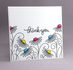 This week's Splitcoaststampers Featured Stamper is Her gallery is full of fun, clever projects and I chose this one as my inspiration: I focsued on Amy's: -outline floral images with colou drawing - Thank You (MASKerade) Art Carte, Karten Diy, Card Drawing, Cute Cards, Cards Diy, Diy Cards Thank You, Easy Cards, Watercolor Cards, Creative Cards
