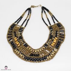 Private Label Egyptian Inspired Beaded Bib Necklace - Gold/Black - OSFA