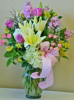 Pretty flowers in pastel spring colors by willow branch florist of riverside
