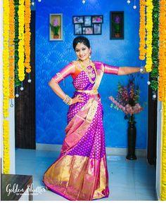 South Indian bride. Gold Indian bridal jewelry.Temple jewelry. Jhumkis.Purple silk kanchipuram sari.Braid with fresh jasmine flowers. Tamil bride. Telugu bride. Kannada bride. Hindu bride. Malayalee bride.Kerala bride.South Indian wedding. Pinterest: @deepa8
