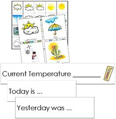 "Weather Tracking Cards: This work includes: - 20 labeled weather cards x - 1 ""Current Temperature"" card - 3 statement cards (Yesterday was. Today is., Tomorrow will be.) - 1 page of small weather cards (cards less than - includes 4 of each card Montessori Science, Preschool Curriculum, Preschool Science, Classroom Activities, Classroom Ideas, Preschool Prep, Curriculum Planning, Stem Activities, Homeschooling"
