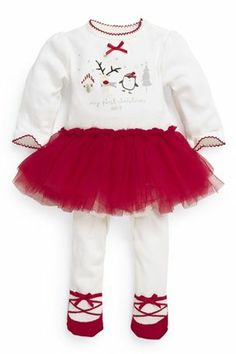 Girl s first christmas outfit dress red tutu tights christmas top