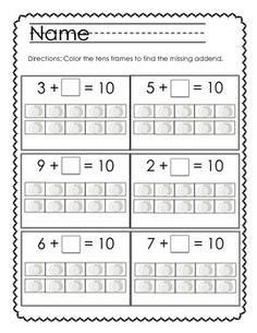 Skill- Counting On Use 10 frame and number cards record in math journal instead of the worksheet. Missing Addends- With Tens Frames **Freebie! Math Classroom, Kindergarten Math, Teaching Math, Math For Kids, Fun Math, Math Stations, Math Centers, Math Numbers, Decomposing Numbers