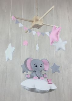 Elephant mobile Baby mobiles cloud mobile by littleHooters